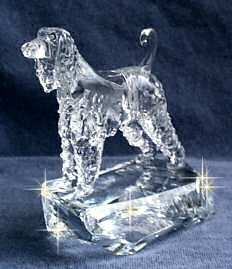 Hand-Sculpted Crystal Statue of Afghan Hound  3/4 View
