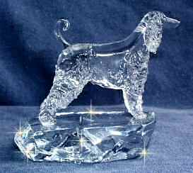 Hand-Sculpted Crystal Statue of Afghan Hound Side View