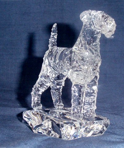 Hand-Sculpted Crystal Statue of Airedale Terrier 3/4 View
