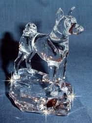 Crystal Sculpture of Basenji Hand-Sculpted by Neil Harris - 3/4 View