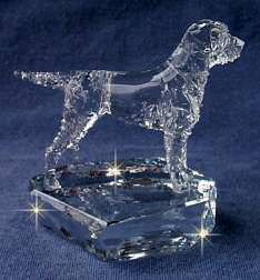 Border Terrier  Crystal Sculpture Front View