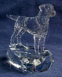 Border Terrier  Crystal Sculpture 3/4 View