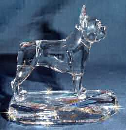 Hand-Sculpted Crystal Boston Terrier Side View