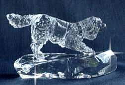 Crystal Statue of Cavalier King Charles in Play Stance