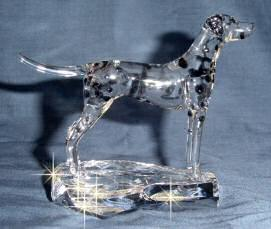 Hand-Sculpted Crystal Statue of Dalmatian Side View