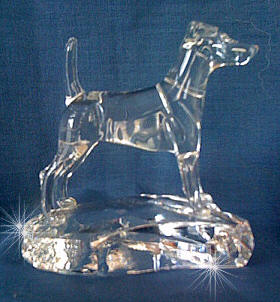 Hand-Sculpted Statue of the Smooth Fox Terrier on Hand Made Crystal Base