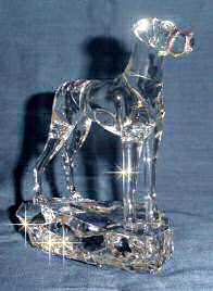 Hand-Sculpted Crystal Statue of Great Dane with Natural Ears 3/4 View