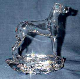 Hand-Sculpted Crystal Statue of Great Dane with Natural Ears Side View
