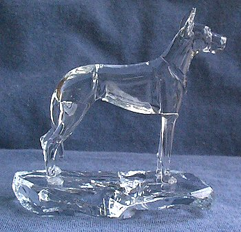 Hand-Sculpted Crystal Statue of Great Dane with Cropped Ears Side View
