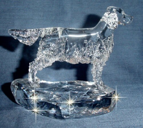 Hand-Sculpted Crystal Statue of Irish Setter Side View