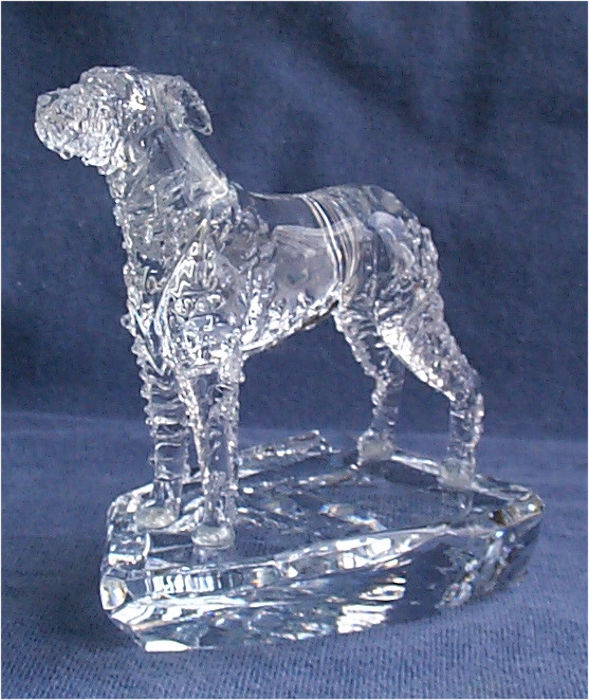 Hand-Sculpted Crystal Statue of the Irish Wolfhound 3/4 View