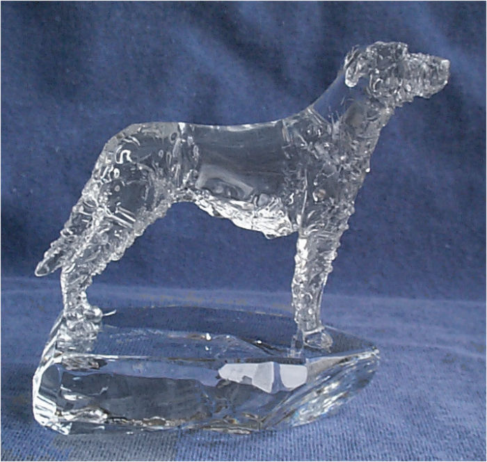 Hand-Sculpted Crystal Statue of the Irish Wolfhound Side View