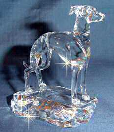Hand-Sculpted Crystal Statue of Italian Greyhound 3/4 View