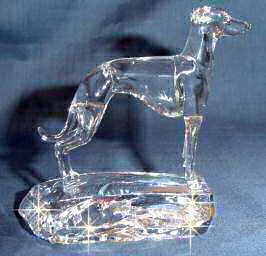 Hand-Sculpted Crystal Statue of Italian Greyhound Side View