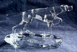 Hand-Sculpted Crystal Statue of Pointer Pointing Side View