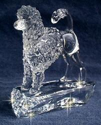 Hand-Sculpted Crystal Statue of the Portuguese Wataer Dog Lion Cut 3/4 View