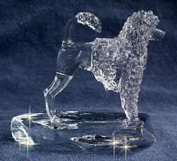 Hand-Sculpted Crystal Statue of the Portuguese Wataer Dog Lion Cut Side View