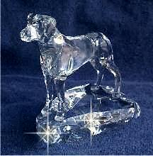 Hand-Sculpted Crystal Statue of Rhodesian Ridgeback 3/4 View