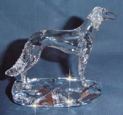 Hand-Sculpted Crystal Statue of Saluki Hand-Sculpted by Neil Harris - Side View