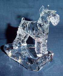 Hand-Sculpted Crystal Statue of Miniature Schnauzer Hand-sculpted by Neil Harris - 3/4 View