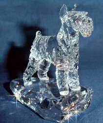 Hand-Sculpted Crystal Statue of Standard Schnauzer 3/4 View