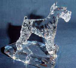 Hand-Sculpted Crystal Statue of Standard Schnauzer Side View