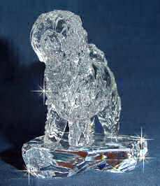Hand-Sculpted Crystal Statue of Tibetan Terrier 3/4 View