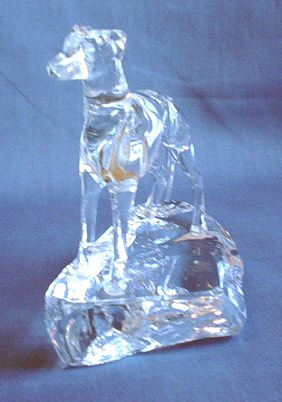 Crystal Whippet Statue Hand-sculpted by Neil Harris 3/4 View